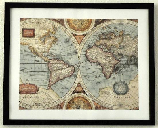 Vintage Map Kunstdruck gerahmt